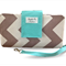 Grey Chevron with Aqua Nappy Wallet