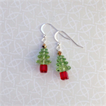 Sterling Silver & Swarovski Crystal Christmas Tree Earrings - Light Green