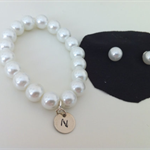 Little girl pearl stud and initial bracelet gift set, xmas gift, Flowergirl gift