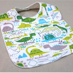 baby bib - dinosaurs / blue grey green white / organic cotton hemp fleece