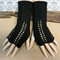 Black Fingerless Gloves, Womens Lace Knitted Gothic or Burlesque Winter Gloves