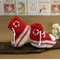 Knit Baby Booties Converse Hi Tops Red White Toddler Shoes Baby Shower Props