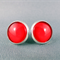 Stud Earrings - Red Glass Cabochon