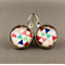 Cabochon Drop Earrings - Colourful Triangles