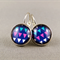 Cabochon Drop Earrings - Triangles on Blue