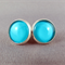 Stud Earrings - Aqua Glass Cabochon