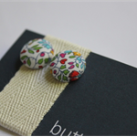 12mm fabric covered button stud earrings sterling silver post&nut Liberty fabric