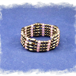 Magnetic Hematite Bracelet - light pink glass beads