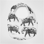 Light Grey and White Elephant Print Bib