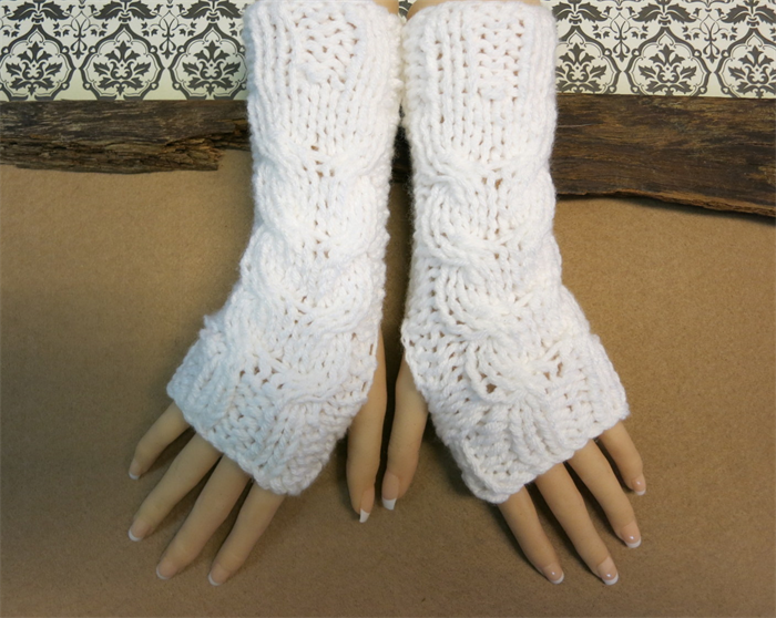 Knitted Fingerless Gloves Glove, Cable Knit Chunky Arm Warmers ...