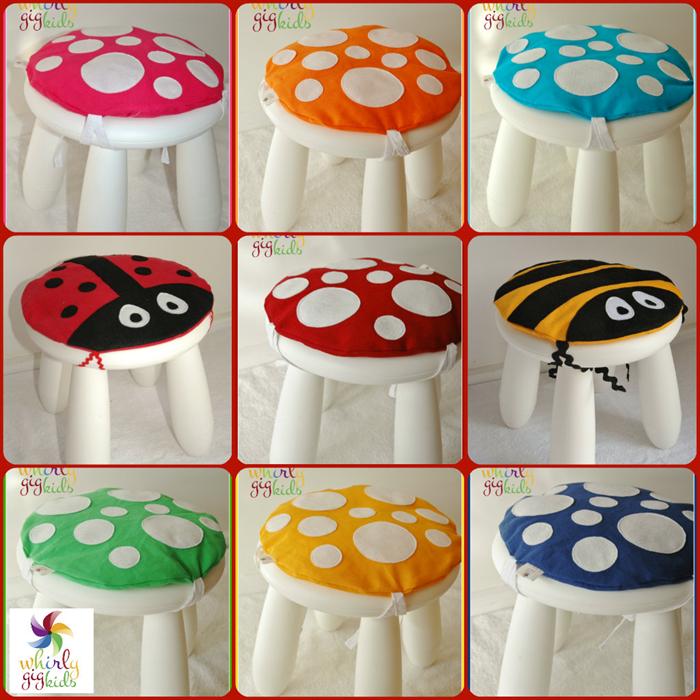 Toadstool Cushion Yellow: Children / Kids Chair cushion fits