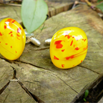 Yellow and Red Streaky Fused Glass Cufflinks