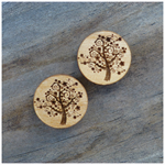 Laser Cut Wooden Tree Earrings