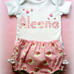 Custom Made To Order - 'Rosebud' Set - Ruffled Pom Pom Bott's & Onesie