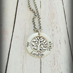 Hand Stamped Personalised Family Tree of Life Necklace Silver