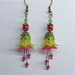 Vintage Lime & Pink 'Sugar Plum' Flower Drop Earrings with stamens