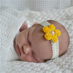 Newborn Headband - rose mesh flower - yellow