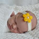 Newborn Headband - rose mesh flower - yellow