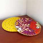 2 Coasters - Vintage Fabric and Felt