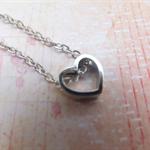 Rhodium Heart Necklace