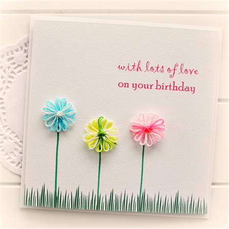 Happy birthday card for her cotton flowers handmade the little card