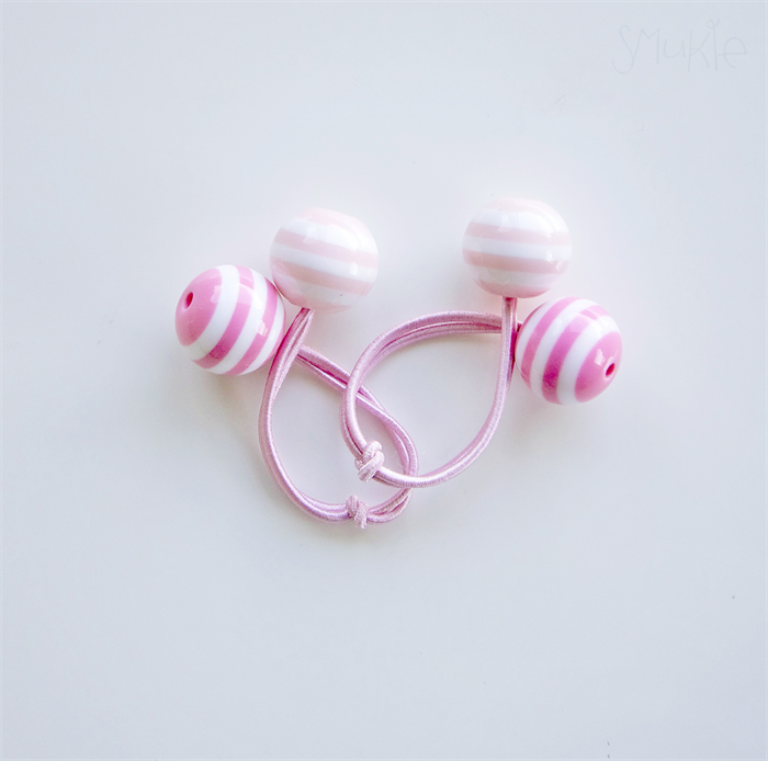 Hair ties. Elastic hair ties. Funky. Double Pink. Retro style hair bobbles.   048df2802b6