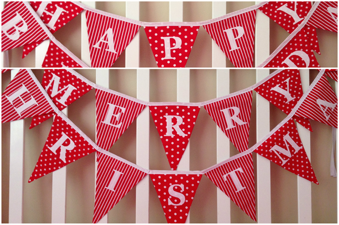 double sided red christmas merry christmas happy birthday bunting decoration