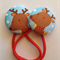 Christmas Rudolph fabric button hairties