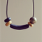 Large black glitter gold bead polymer clay adjustable waxed cotton necklace