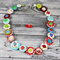 Spotted- Red white green Teal Button Necklace - Button Jewellery - Earrings