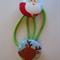 Christmas Santa fabric button hairties