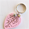 Light Pink Leaf, ladybird and Heart Keyring