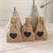 50 x Hessian Wedding Favor Bags with Navy Heart