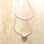 CLEAR COLOUR BASICS SILVER HEART LOCKET DOUBLE STRAND LONG NECKLACE