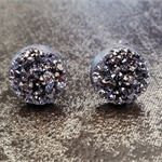 Dark Metallic Silver 'Druzy Look' Earrings