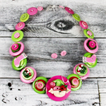 Christmas Elf - Red Lime Pink Button Necklace - Button Jewellery - Earrings