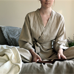 Stonewashed luxurious Natural (ecru)linen sleepwear. Short kimono dressing gown.