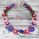 Christmas Elf - Red White Purple Blue Button Necklace - Jewellery - Earrings