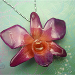 Real Orchid Flower Necklace - Purple/Pink. This is a REAL Orchid flower.