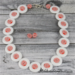 Candy Cane Stripes Button Necklace - Button Jewellery - Earrings