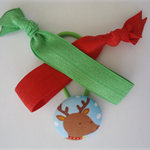 Christmas colours combo pack -fabric button hair tie and elastic hair ties