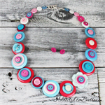Turquoise Hot Pink White - Button Necklace - Button Jewellery - Earrings