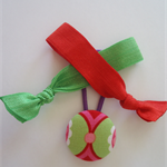 Red and green combo pack -fabric button hair tie and elastic hair ties