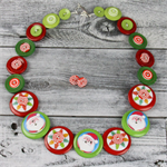 Santa in the Christmas Trees Button Necklace - Button Jewellery - Earrings