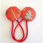 Christmas tree fabric button hairties