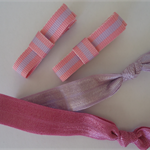 Pink combo pack -alligator clips and elastic hair ties