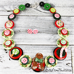 Gingerbread candy cane Button Necklace - Button Jewellery - Earrings