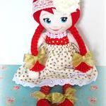 Christmas Cloth Doll - flower & lace headband - red, gold spots, stars, chevron