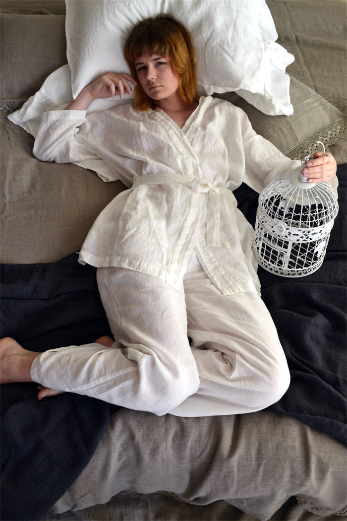 Stonewashed luxurious white linen sleepwear. Short kimono dressing ...