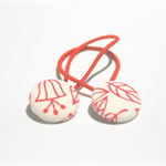 Scandi red + white hair band set, two ponytail holders, girls accessory